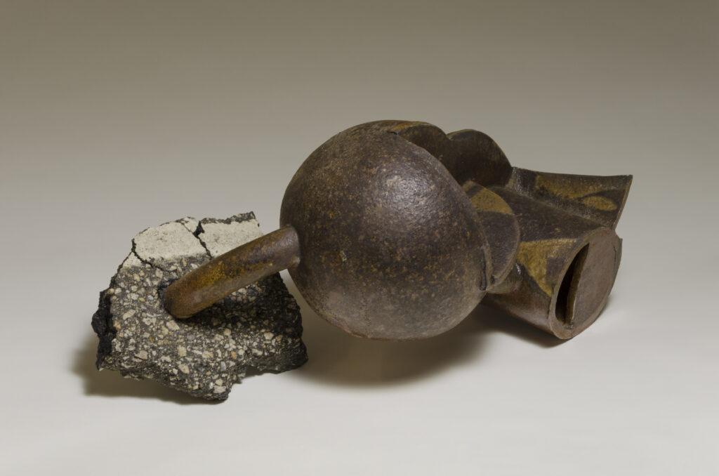 slab built stoneware, wood fired, pavement fragment